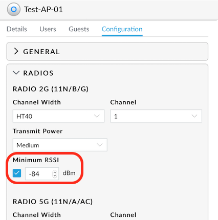 WLAN: Ubiquiti UniFi – RSSI