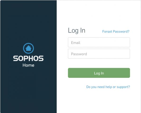 Sophos Home Log in