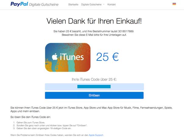 Apple: iTunes-Gutscheine via Paypal kaufen